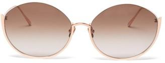 Linda Farrow Rae 18kt Rose-gold Plated Titanium Sunglasses - Brown
