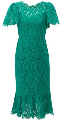 Dolce & Gabbana Ruffled Lace Midi Dress - Womens - Green