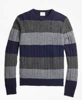 Brooks Brothers Wide-Stripe Cable Crewneck Sweater