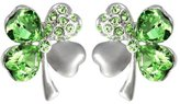 Dahlia Four Leaf Clover Heart Shaped Swarovski Elements Crystal Rhodium Plated Stud Earrings