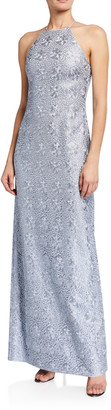 Halston Fitted Metallic Embroidered Mesh Halter Gown