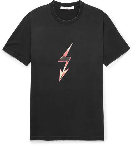 Givenchy Slim-Fit Distressed Printed Cotton-Jersey T-Shirt - Black
