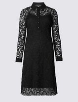 Marks and Spencer Lace Lined Long Sleeve Shirt Dress