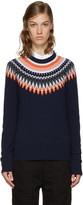 YMC Navy & Orange Fairisle Sweater