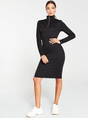 Very Ribbed Zip Dress - Black