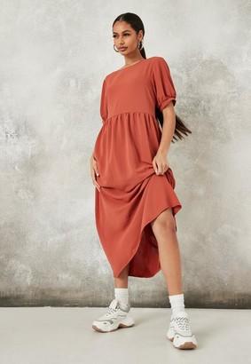 Missguided Rust Puff Sleeve Midi Smock Dress