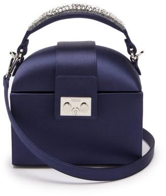 Rodo Trunk Crystal-embellished Satin Cross-body Bag - Navy