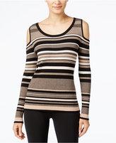 ECI Striped Cold-Shoulder Sweater