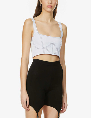 Odolls Collection Cropped fitted stretch-woven corset
