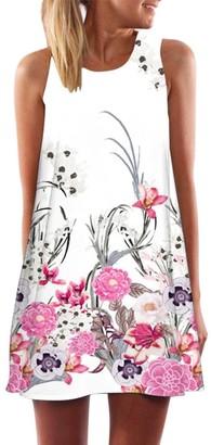 Daylin Vintage Large Size Boho Women Summer Sleeveless Beach Printed Short Mini Dress (L