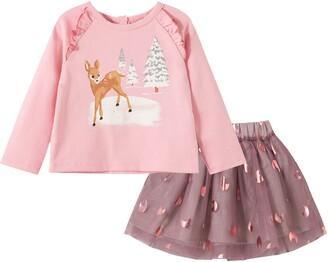 Peek Aren't You Curious Winter Foil Shirt & Mesh Skirt Set