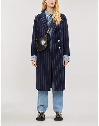 Sandro Thiny pinstriped wool-blend coat