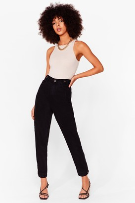 Nasty Gal Womens We're Button Track High-Waisted Mom Jeans - Black - S