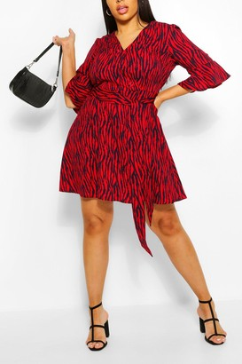 boohoo Plus Animal Print Horn Button Skater Dress