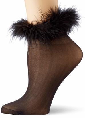 Dreamgirl Women's Marabou-Trimmed Sheer Socks