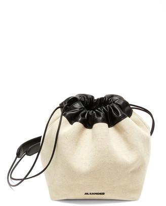 Jil Sander Small Leather-Trimmed Canvas Drawstring Bag