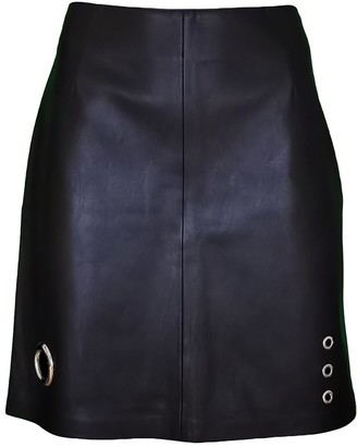 Lalipop Design Black Vegan Leather Mini Skirt With Eyelets