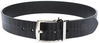 Burberry Black Haymarket Check Leather Clarke Reversible Buckle Belt 75CM