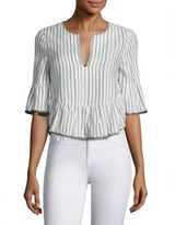 BCBGMAXAZRIA Striped Ruffled Top