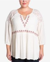 Eyeshadow Trendy Plus Size Embroidered Lace Top