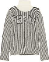 Fendi Striped Knitted Turtleneck Sweater - Black