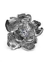 Flower Crystal Ring: Silver