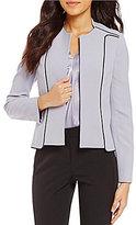 Kasper Mandarin Collar Square Hem Crepe Contrast Open-Front Jacket