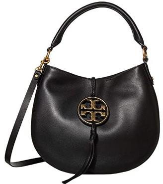 Tory Burch Miller Metal Mini Hobo (Black) Handbags