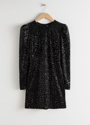 And other stories Velvet Sequined Mini Dress