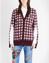 Christopher Kane Gingham-pattern wool-blend cardigan