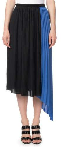 Kenzo Pleated Asymmetrical Colorblock Midi Skirt
