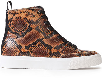 Rag & Bone Rb Suede-trimmed Snake-effect Leather High-top Sneakers
