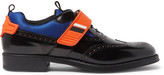 Prada Mesh and Rubber-Trimmed Leather Wingtip Brogues