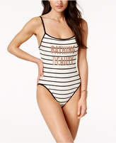 Kate Spade Bathing Beauty Striped Graphic One-Piece Swimsuit