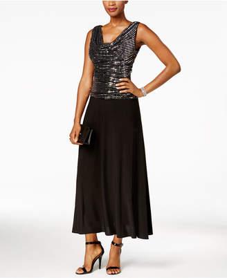 R & M Richards Metallic Sequined A-Line Dress