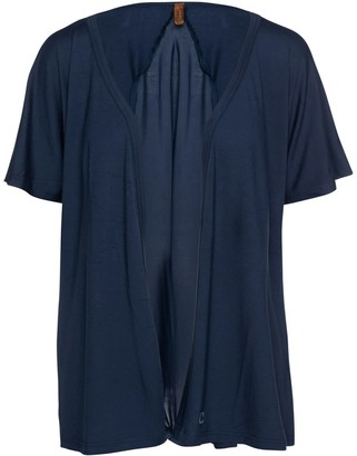 Conquista Short Sleeve Open Front Cardigan In Navy