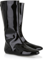 Patent leather flat boots