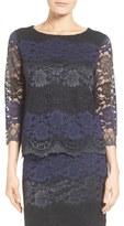 Halogen Sheer Sleeve Lace Top (Regular & Petite)