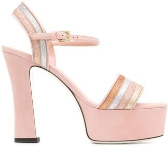Pollini Glitter Stripe Sandals