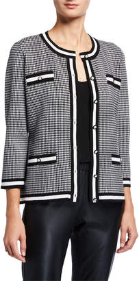 Karl Lagerfeld Paris Houndstooth 3/4-Sleeve Sweater Cardigan