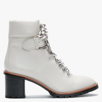 Lola Cruz Falaba White Leather Heeled Hiker Boots