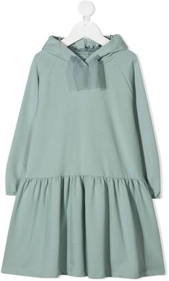 Il Gufo Drawstring-Hood Tiered Sweatshirt Dress