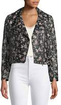 Rebecca Minkoff Wes Zip-Front Printed Leather Moto Jacket