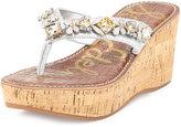 Sam Edelman Randi Jeweled Wedge Thong Sandal, Soft Silver