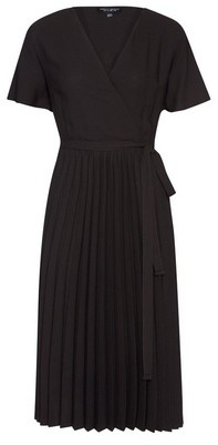 Dorothy Perkins Womens Black Wrap Pleated Skirt Midi Dress, Black