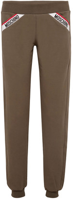 Moschino Monogram-trimmed French Cotton-blend Terry Track Pants
