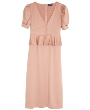 Danielle Bernstein Solid Puff-Sleeve Midi Dress, Created for Macy's