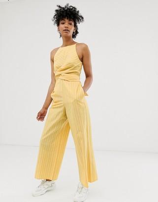 Asos DESIGN Linen stripe twist front jumpsuit