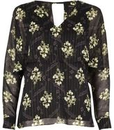 River Island Womens Black floral print angel cape top