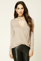 Forever 21 FOREVER 21+ Surplice Front Cutout Top